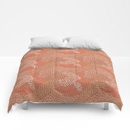 Brush Strokes Abstract Pattern, Brick with Coral and Tan Comforters