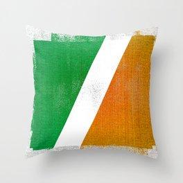 Irish Distressed Halftone Denim Flag Throw Pillow