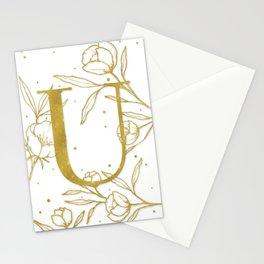 Letter U Gold Monogram / Initial Botanical Illustration Stationery Cards
