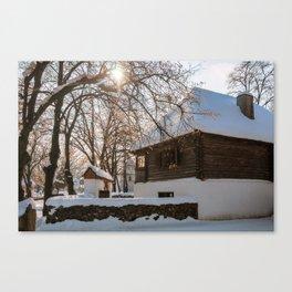 Winter tale in an old Romanian village Canvas Print