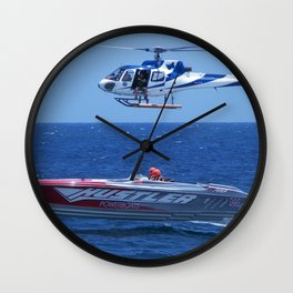 Powerboat And Helicopter Wall Clock