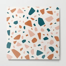 Simple and Lovely Terrazzo Mosaic Metal Print