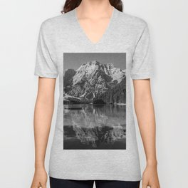 Black and white image of Lake Braies and its reflections Unisex V-Neck
