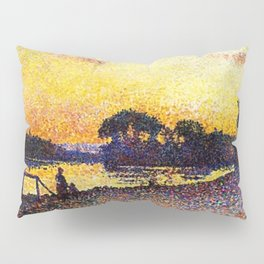 Banks of the River Seine, Paris at Herblay Sunset by Maximilien Luce Pillow Sham