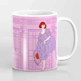 AUDREY: Art Deco Lady in Purple and Pink Coffee Mug