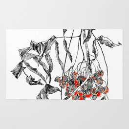 rowan branch with dried leaves and berries Rug