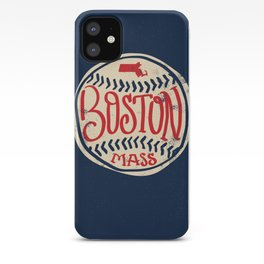 Hand Drawn Baseball for Boston with custom Lettering iPhone Case