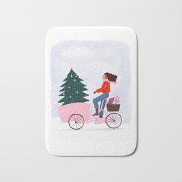 Christmas bicycle Bath Mat