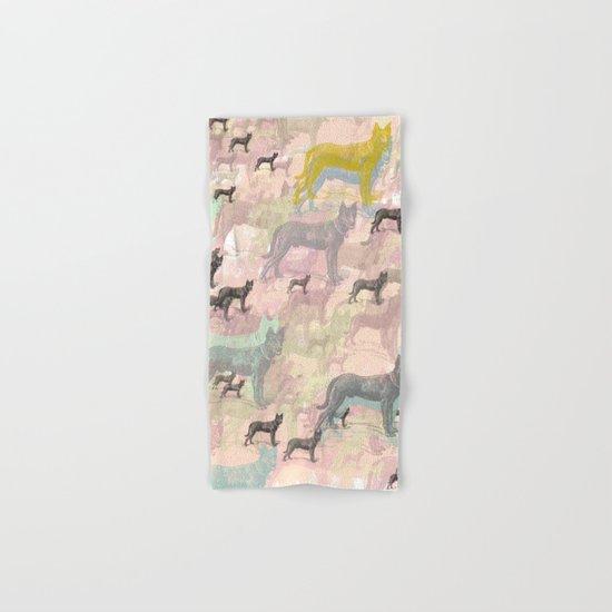Sky Dogs - Abstract Geometric pink mauve mint grey orange Hand & Bath Towel
