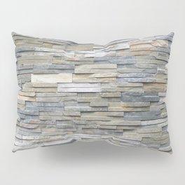 Gray Slate Stone Brick Texture Faux Wall Pillow Sham