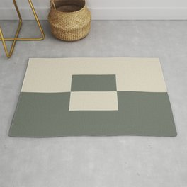 Green Buff Tan Minimal Square Design 2 2021 Color of the Year Contemplative Bleached Pebble Rug