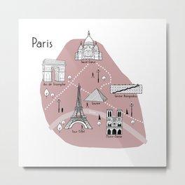 Mapping Paris - Pink Metal Print