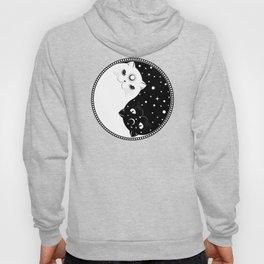 Cartoon black and white cats, yin yang sign Hoody