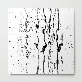 poured paint blots black and white Metal Print