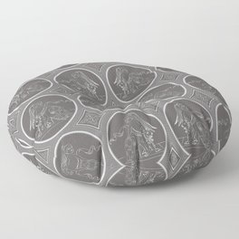 Grisaille Charcoal Grey Neo-Classical Ovals Floor Pillow