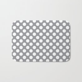 White Polka Dots with Grey Background Bath Mat