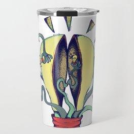 Handsy Lightbulb by Maisie Cross Travel Mug