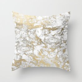 Modern chic faux gold white elegant marble Throw Pillow