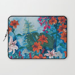 Blue Jungle of Orange Lily and Pink Trumpet Vine Floral Laptop Sleeve