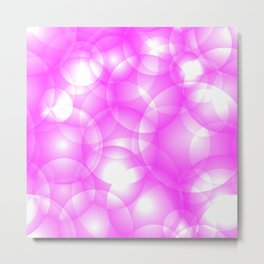 Gentle intersecting pink translucent circles in pastel colors with a crimson glow. Metal Print