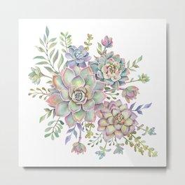 Watercolor Succulents #77 Metal Print