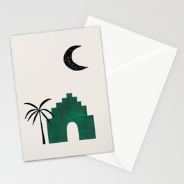 Emerald Green Minimalist Mid Century Ancient Minimal Ruin Architecture Moon Lit Palm Trees Ejaaz Haniff Stationery Cards