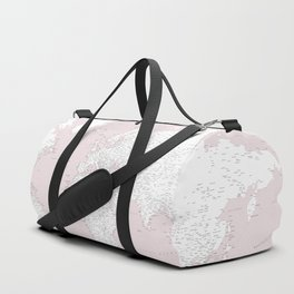 World map, highly detailed in dusty pink and white, square Duffle Bag