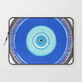 Blue and Silver Evil Eye Mandala Laptop Sleeve