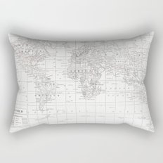 World Map ~ White on White Rectangular Pillow