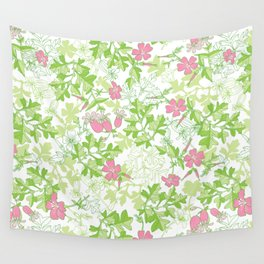 Forest Wildflowers / White Background Wall Tapestry