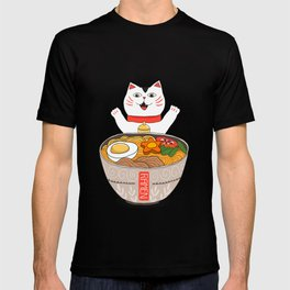 Liter of Ramen. Japanese soup and Manekineko cat. T-shirt