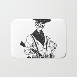Sheriff with mustache and rifle Bath Mat