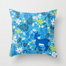 Deer and Butterflies (Sky Blue) Throw Pillow