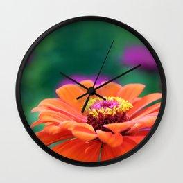 Orange Gerbera Floral Flower Wall Clock