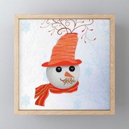 Snowman Christmas Card Framed Mini Art Print