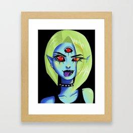 Blue Rocker girl monster Framed Art Print