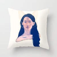 kitsune Throw Pillows featuring Kitsune by days & hours