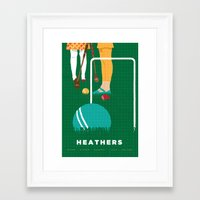 heathers Framed Art Prints featuring 80s TEEN MOVIES :: HEATHERS by David Edward Johnson