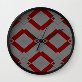 Red / Grey Diamond Pattern Wall Clock