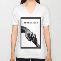 divergent V-neck T-shirts featuring ABNEGATION - DIVERGENT (draw by me) by MarcoMellark