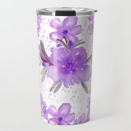 Watercolor lavender lilac brown modern floral Travel Mug