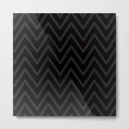 Chevron Wave Black Duotone Monochrome Metal Print
