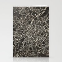 brussels Stationery Cards featuring brussels map ink lines by NJ-Illustrations