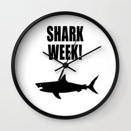 Shark Week, black text on white Wall Clock