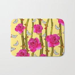 WHITE BUTTERFLIES & CERISE PINK ROSE THORN CANES YELLOW Bath Mat