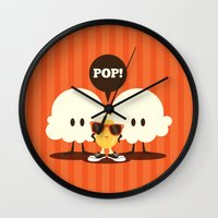 pop art Wall Clocks featuring Pop! by Steph Dillon