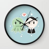 lovecraft Wall Clocks featuring Lovecraft and Chtulhu by Cloudsfactory