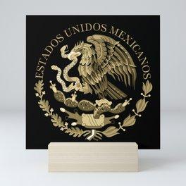 Mexico flag seal in sepia Mini Art Print