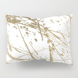 Artistic white abstract faux gold paint splatters Pillow Sham