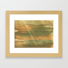 Brown green colored watercolor pattern Framed Art Print